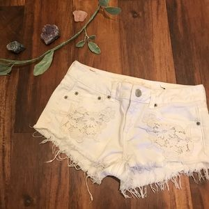 American Eagle White Distressed Denim Shorts
